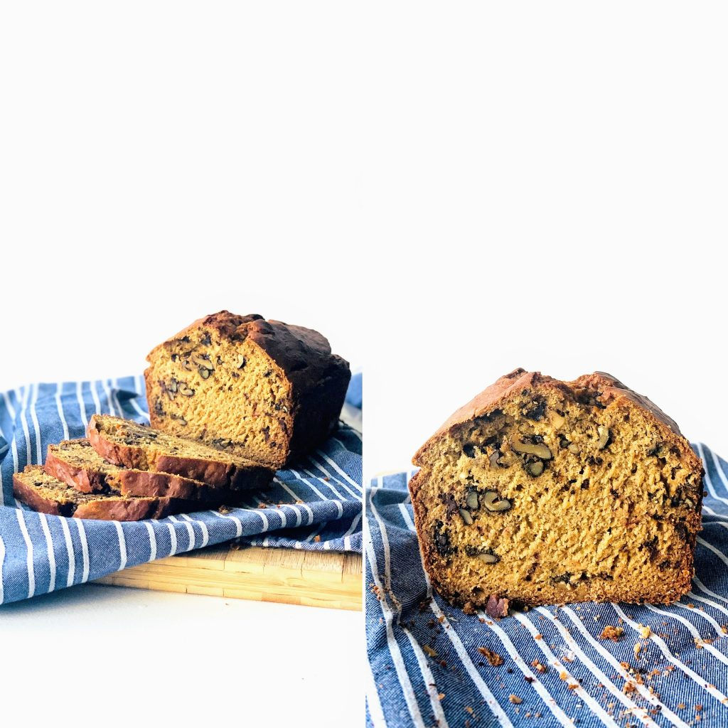 Vegan banana bread with walnuts and dark chocolate